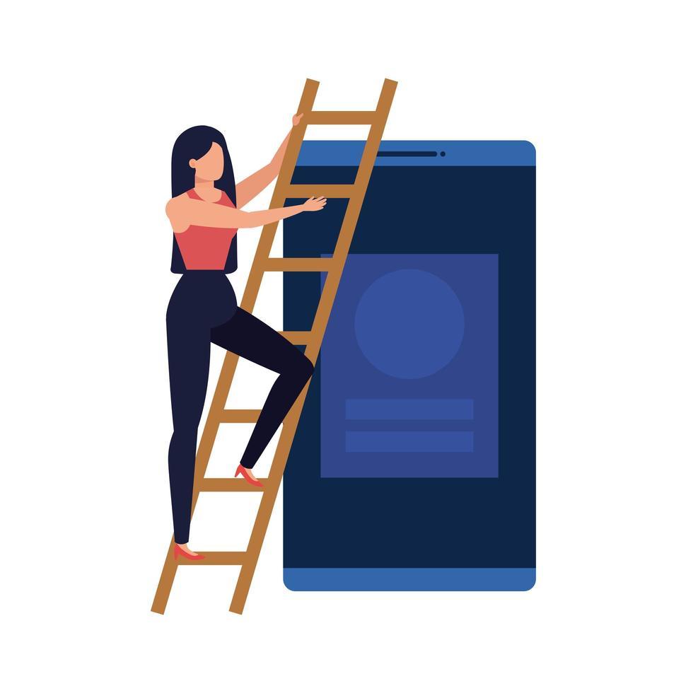 jonge vrouw met smartphonekarakter vector
