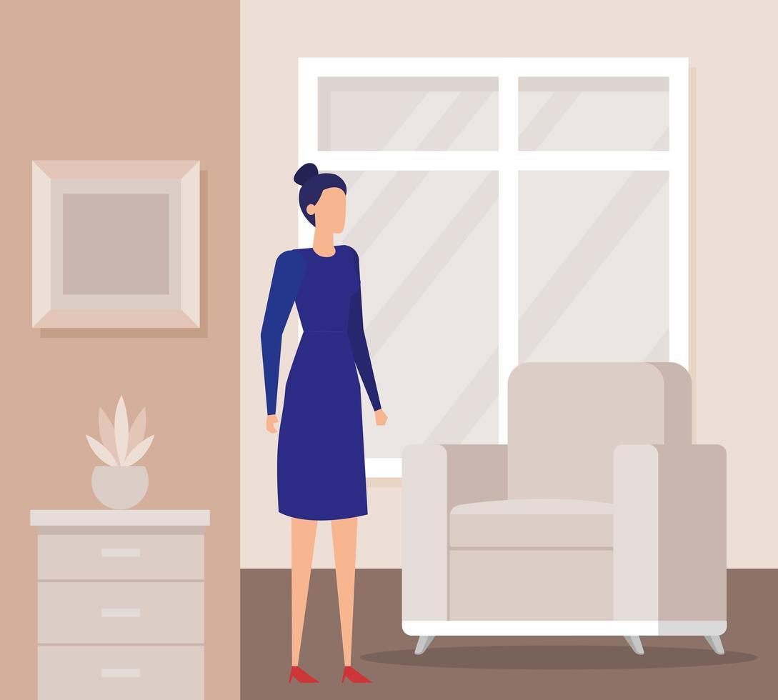 elegante zakenvrouw werknemer in de woonkamer vector