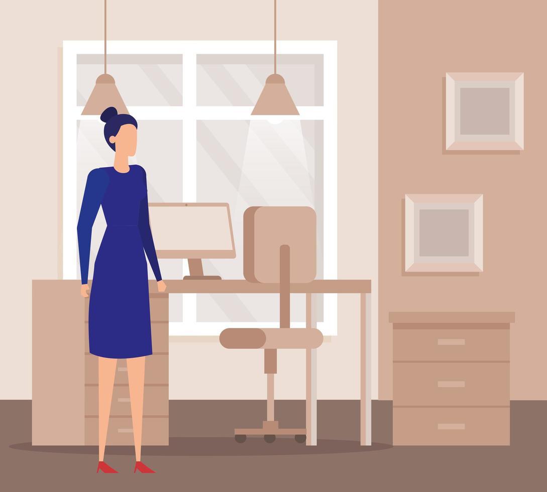 elegante zakenvrouw werknemer op kantoor vector