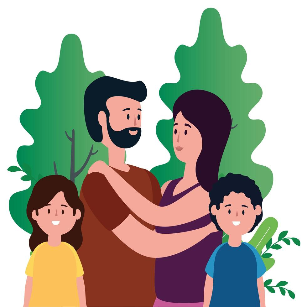 ouders koppelen met kinderen op het park vector