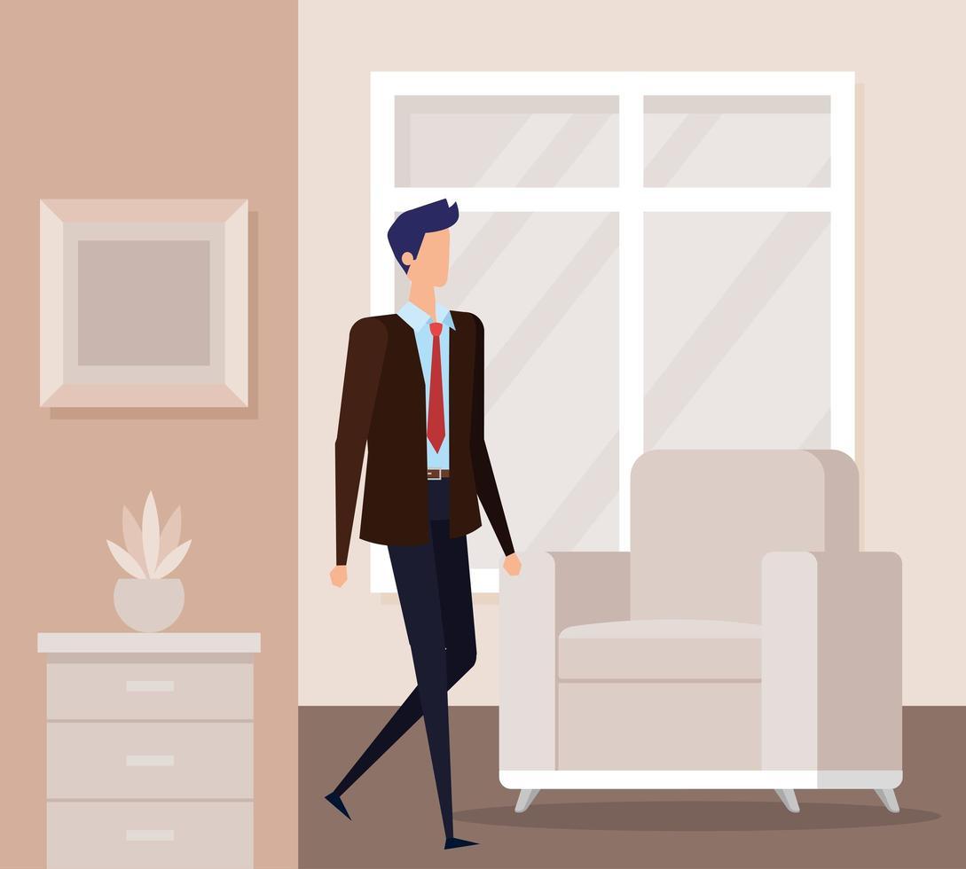 elegante zakenmanarbeider in de woonkamer vector