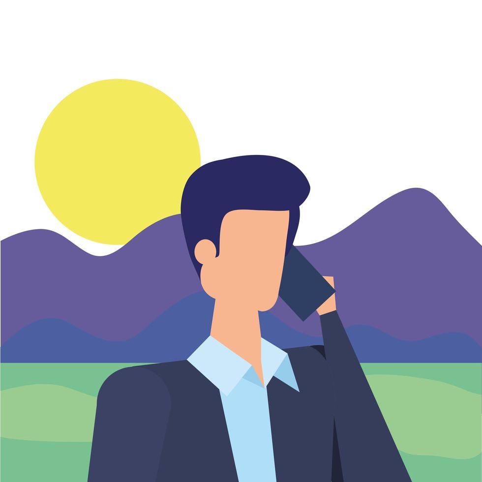 zakenman werknemer bellen met smartphone in het kamp vector