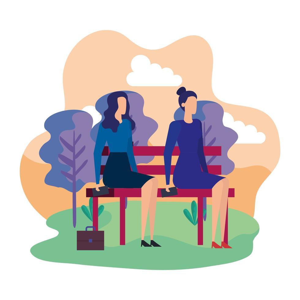 elegante zakenvrouwen gezeten in de parkstoel vector