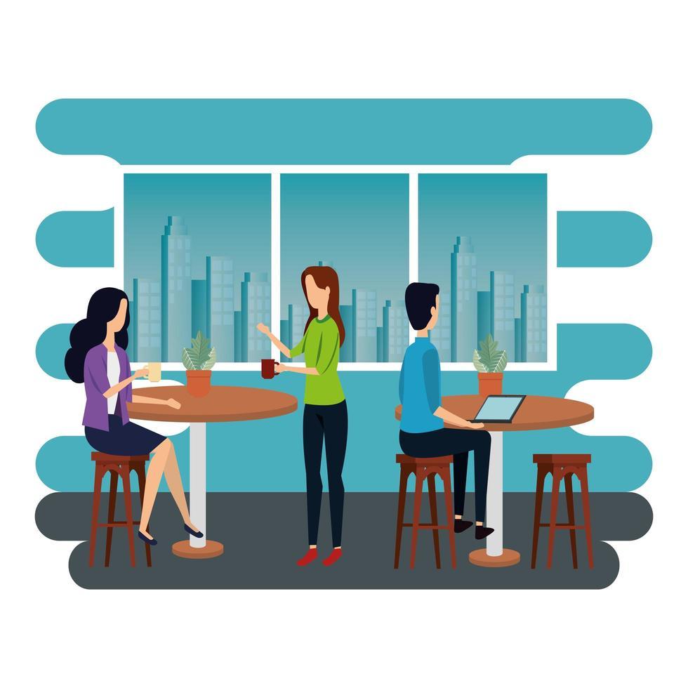 elegante zakenmensen die op kantoor werken vector