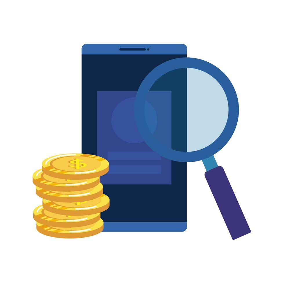 munten geld dollars met smartphone en vergrootglas vector