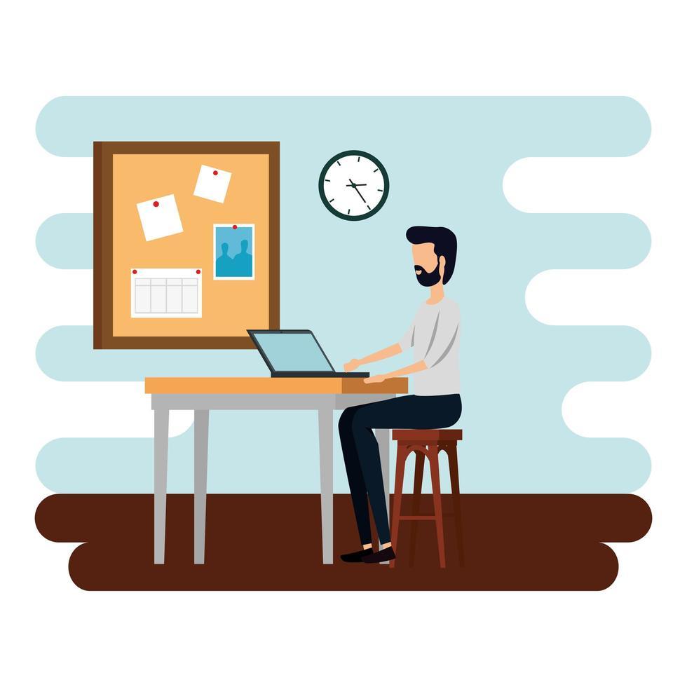 elegante zakenmanarbeider in de kantoorscène vector
