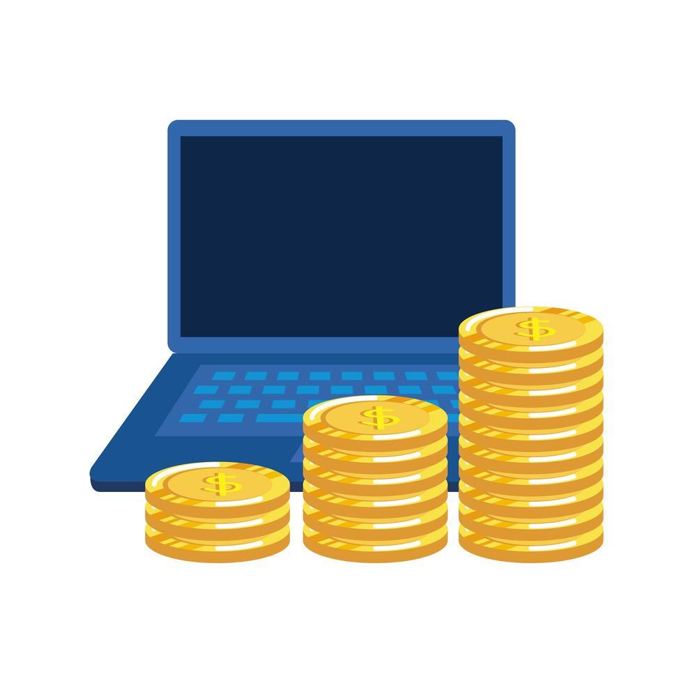munten geld dollars met laptop vector