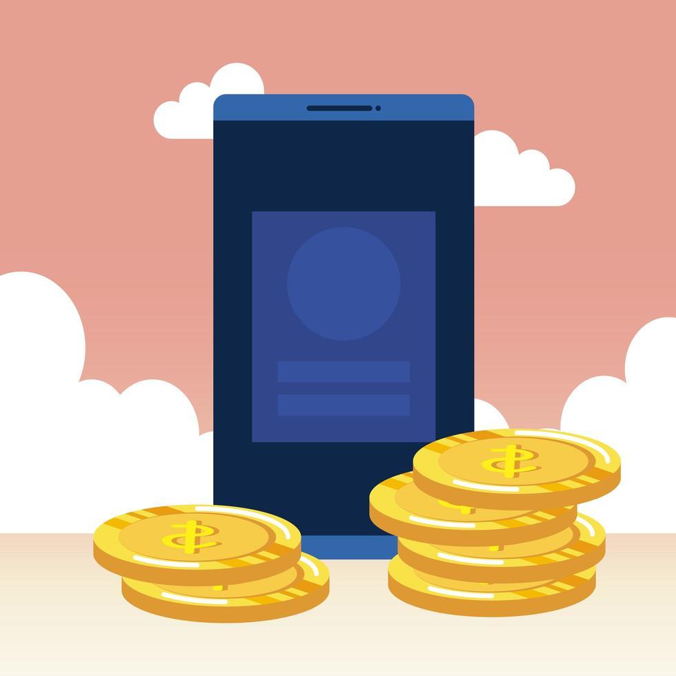 munten geld dollars met smartphone vector