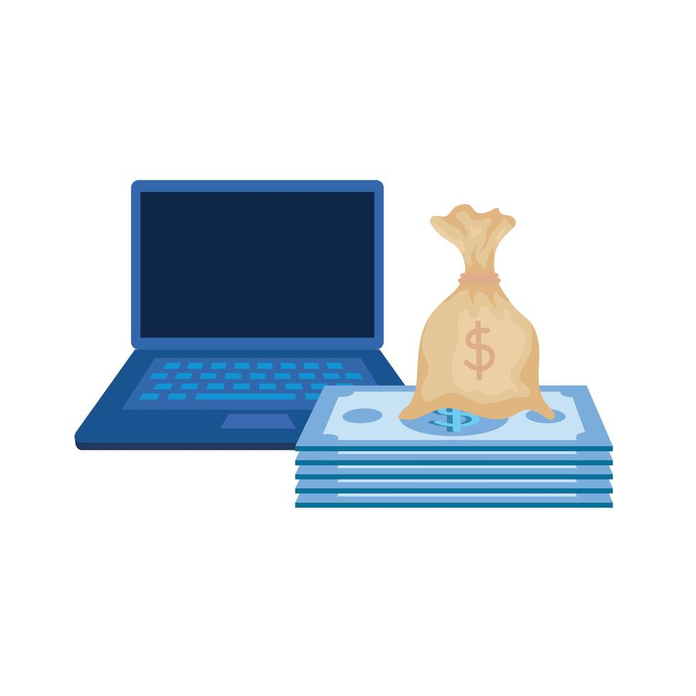 rekeningen geld dollars met laptop vector
