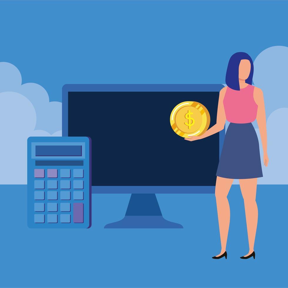 jonge vrouw met desktop en geld vector