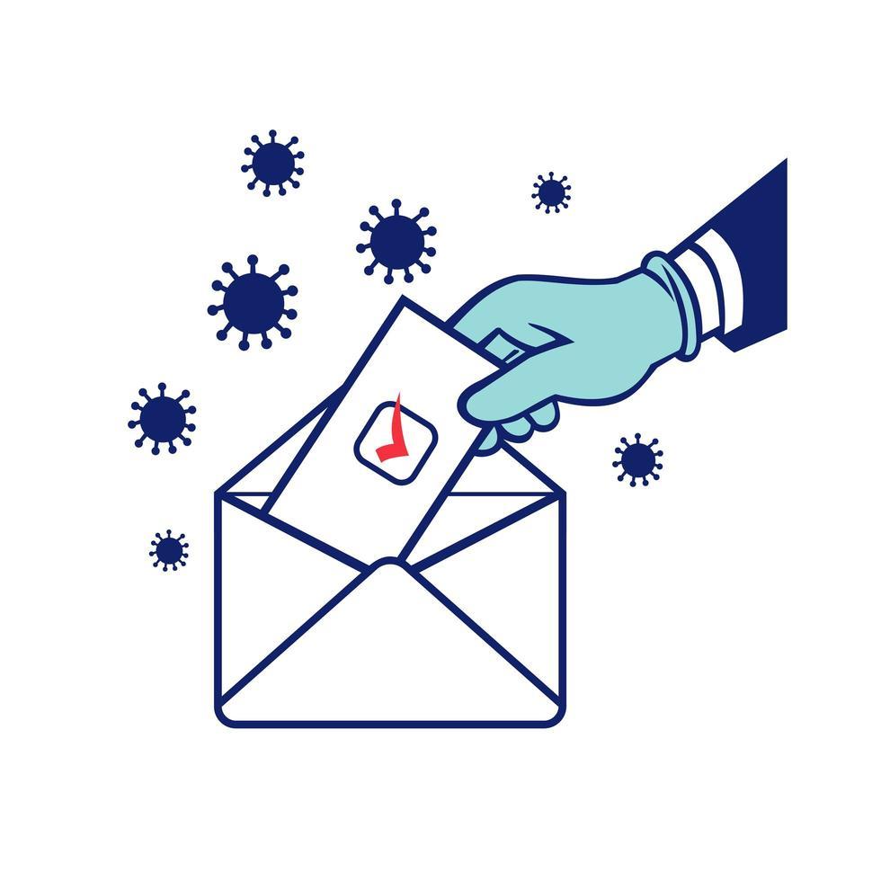 Amerikaanse kiezer stemmen met behulp van poststemming tijdens pandemische lockdown retro verkiezing vector