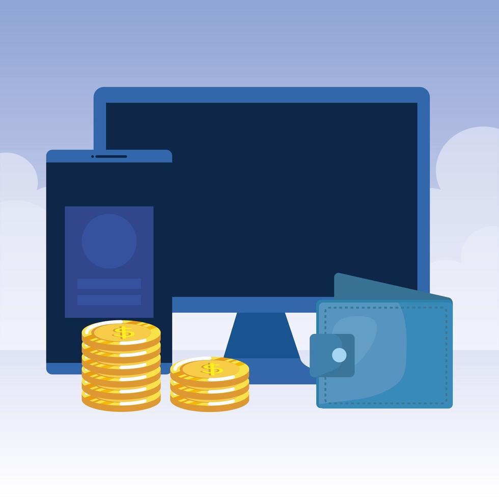 desktopcomputer met portemonnee en munten vector