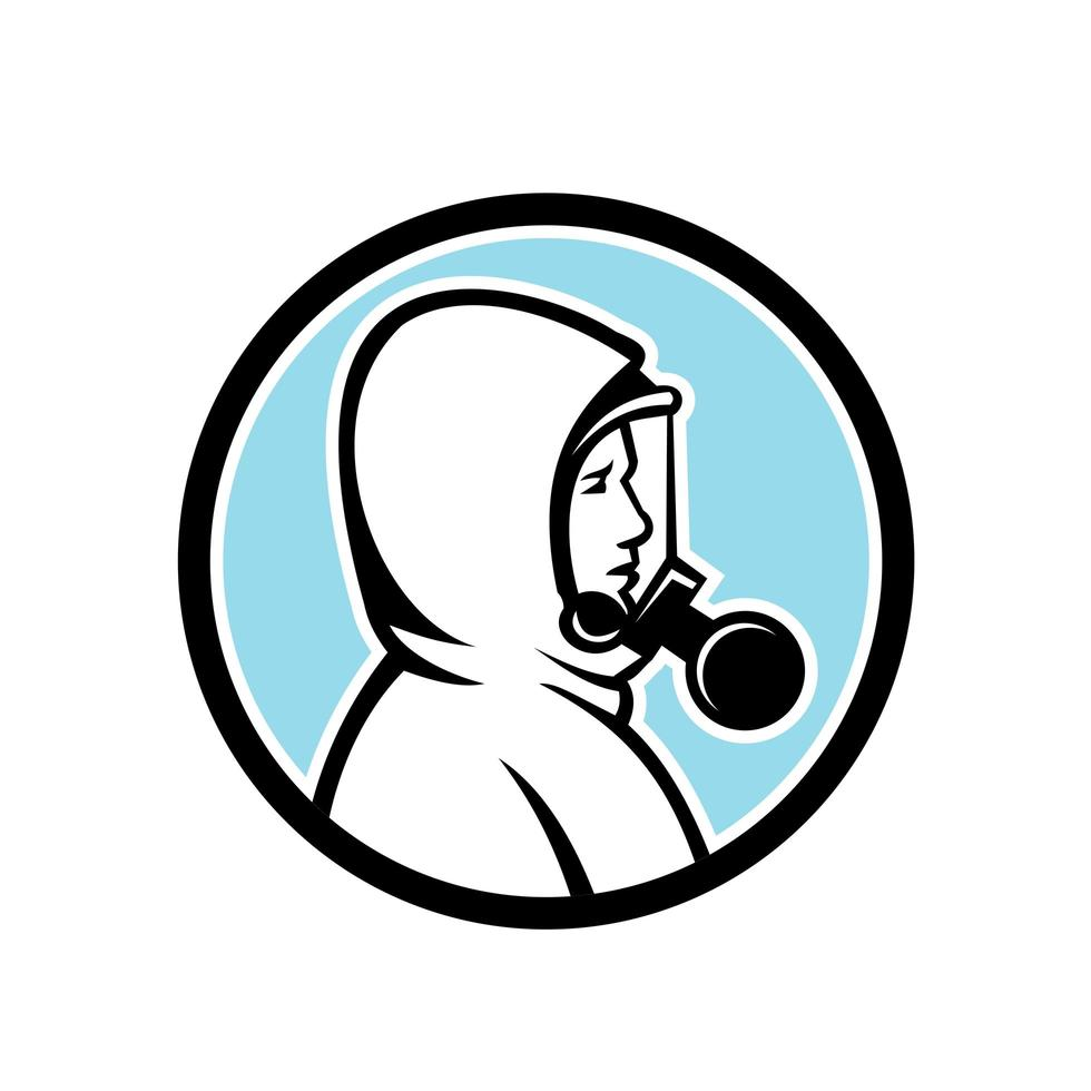 gezondheidswerker die rpe-mascotte draagt vector