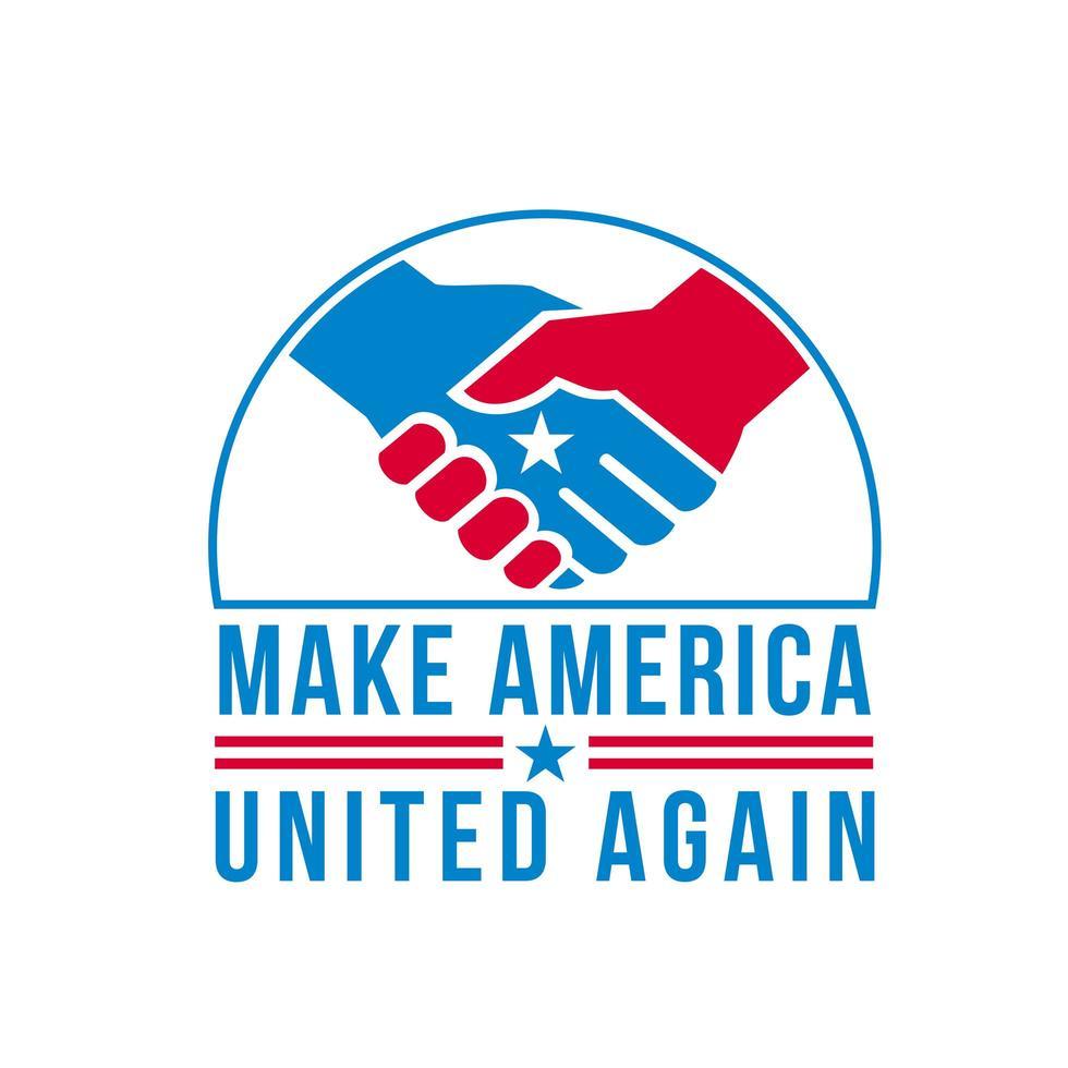 Amerikaan dient handdruk met de ster van de VS in en woorden maken Amerika weer verenigd retro vector