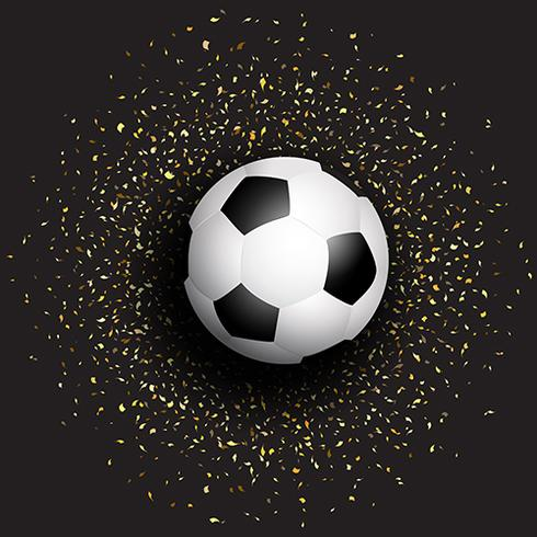 Voetbal op confetti achtergrond vector