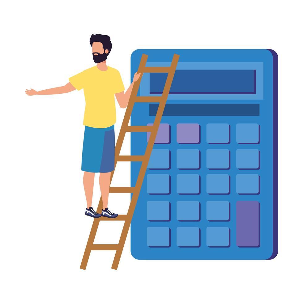 jonge man met rekenmachinekarakter vector