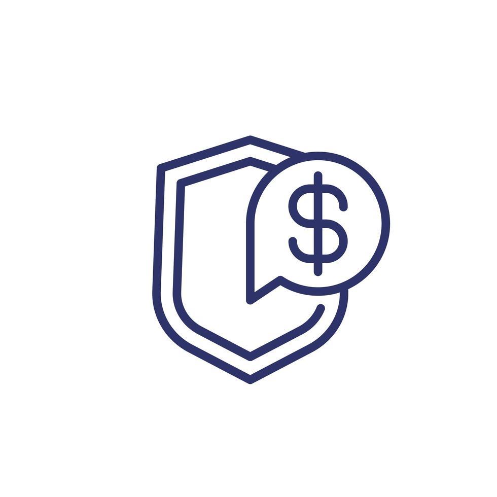 verzekering geld lijn pictogram op wit vector