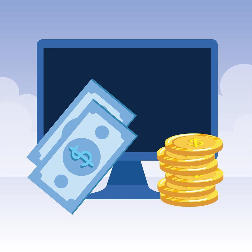 desktop computer met rekeningen en munten vector