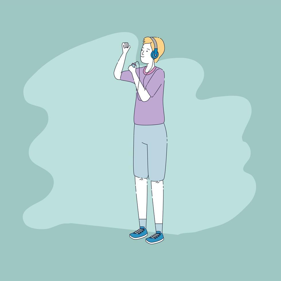 jonge man met koptelefoon en muziekspeler karakter vector