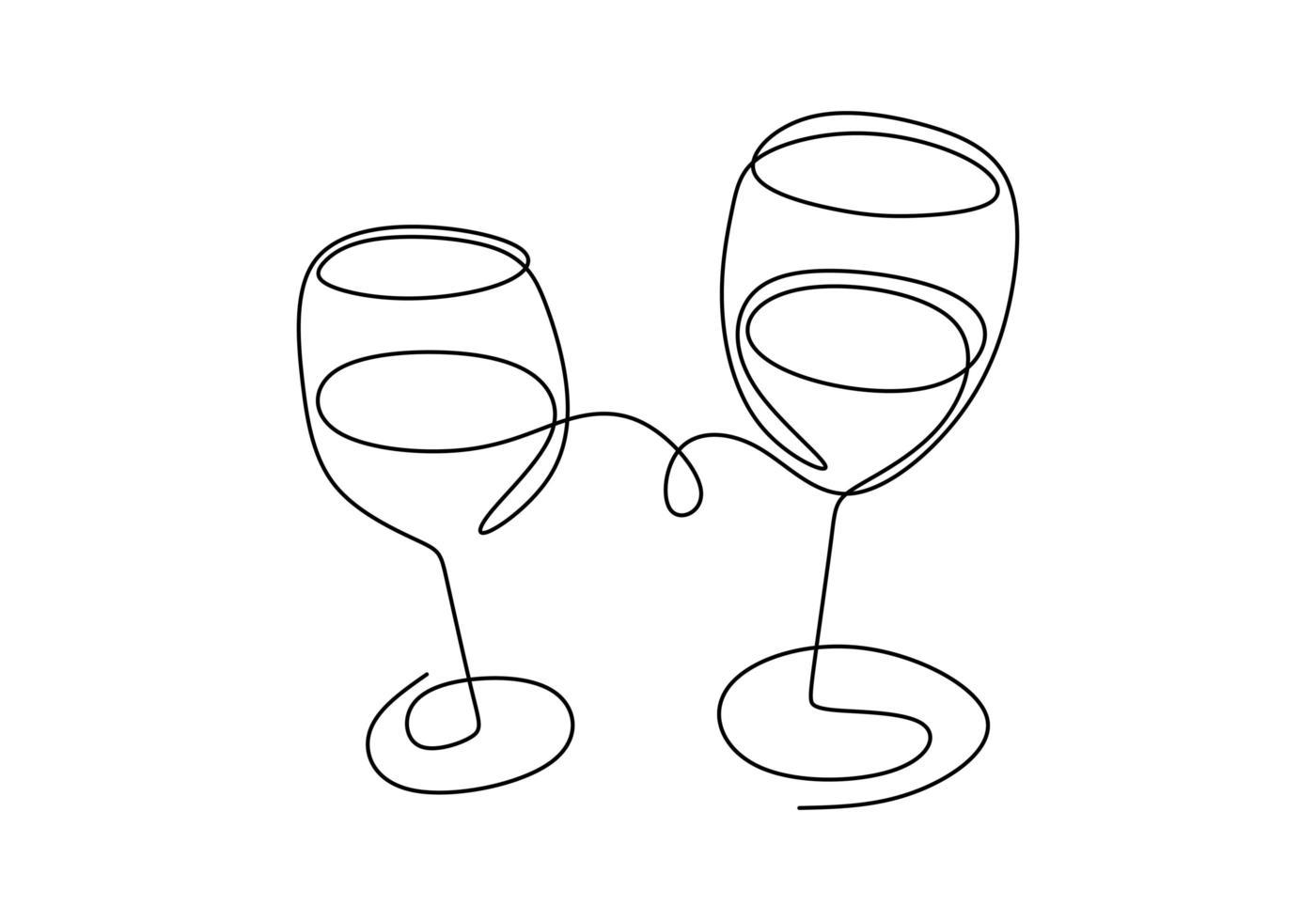 continu een lijntekening. juichen met glazen wijn of champagne. minimalisme schets hand getekend geïsoleerd op een witte achtergrond. eenvoud lijntekeningen abstracte stijl. vector
