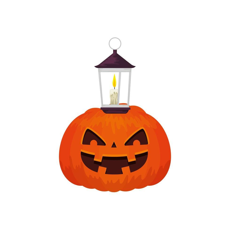 halloween-pompoen traditioneel met lamp vector