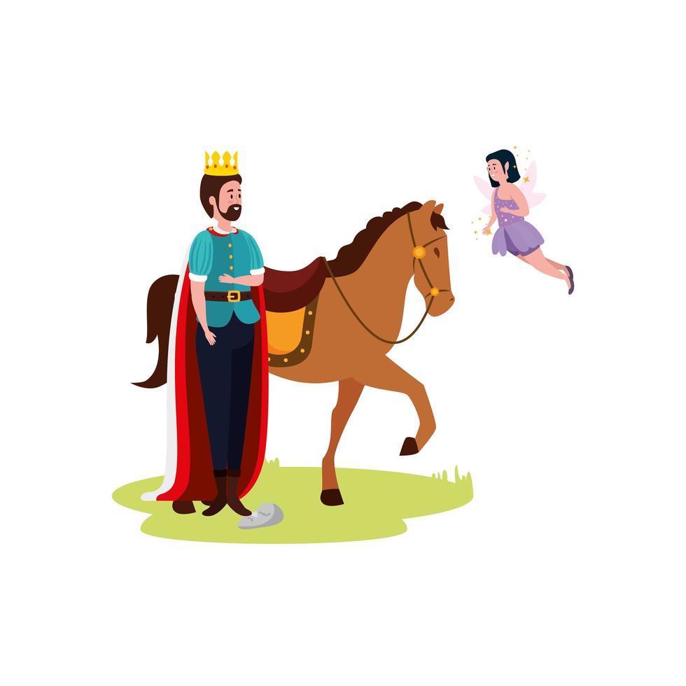 koning met paard en fee vliegen vector