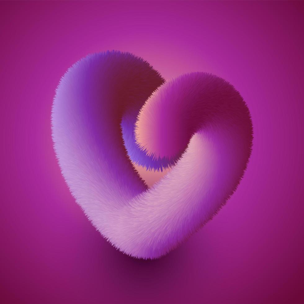 harig hartontwerp voor Valentijnsdag vector