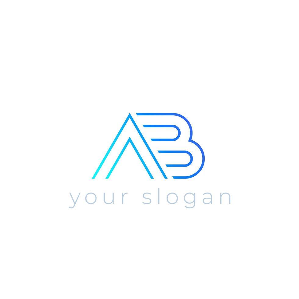 ab vector logo, lijn ontwerp