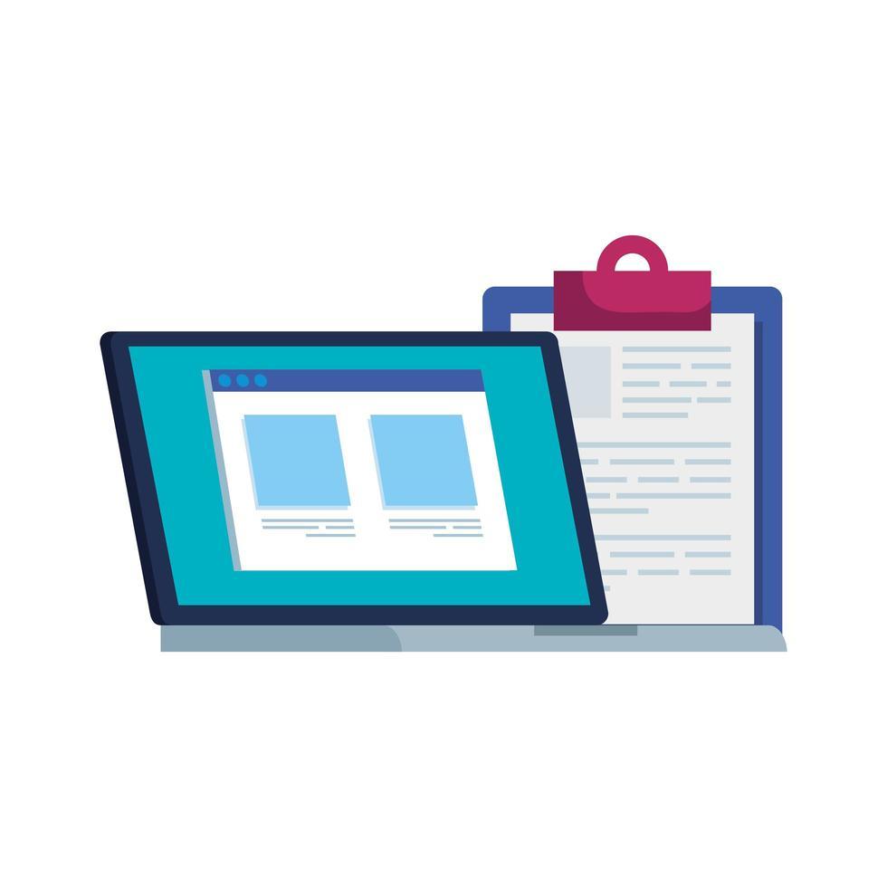 laptop computer met webpagina en klembord vector