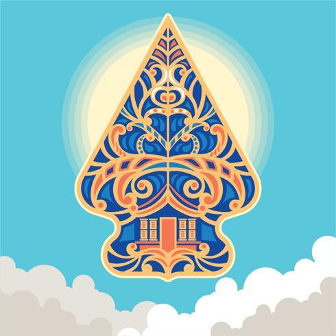 Vector illustratie Wayang Gunungan van Indonesië
