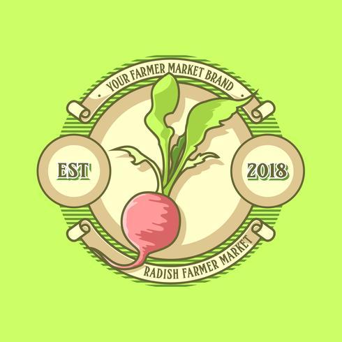 vintage radijs boeren markt logo vector