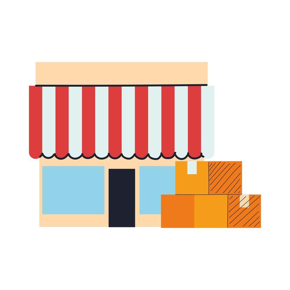 winkelpui met luifel en dozen vector