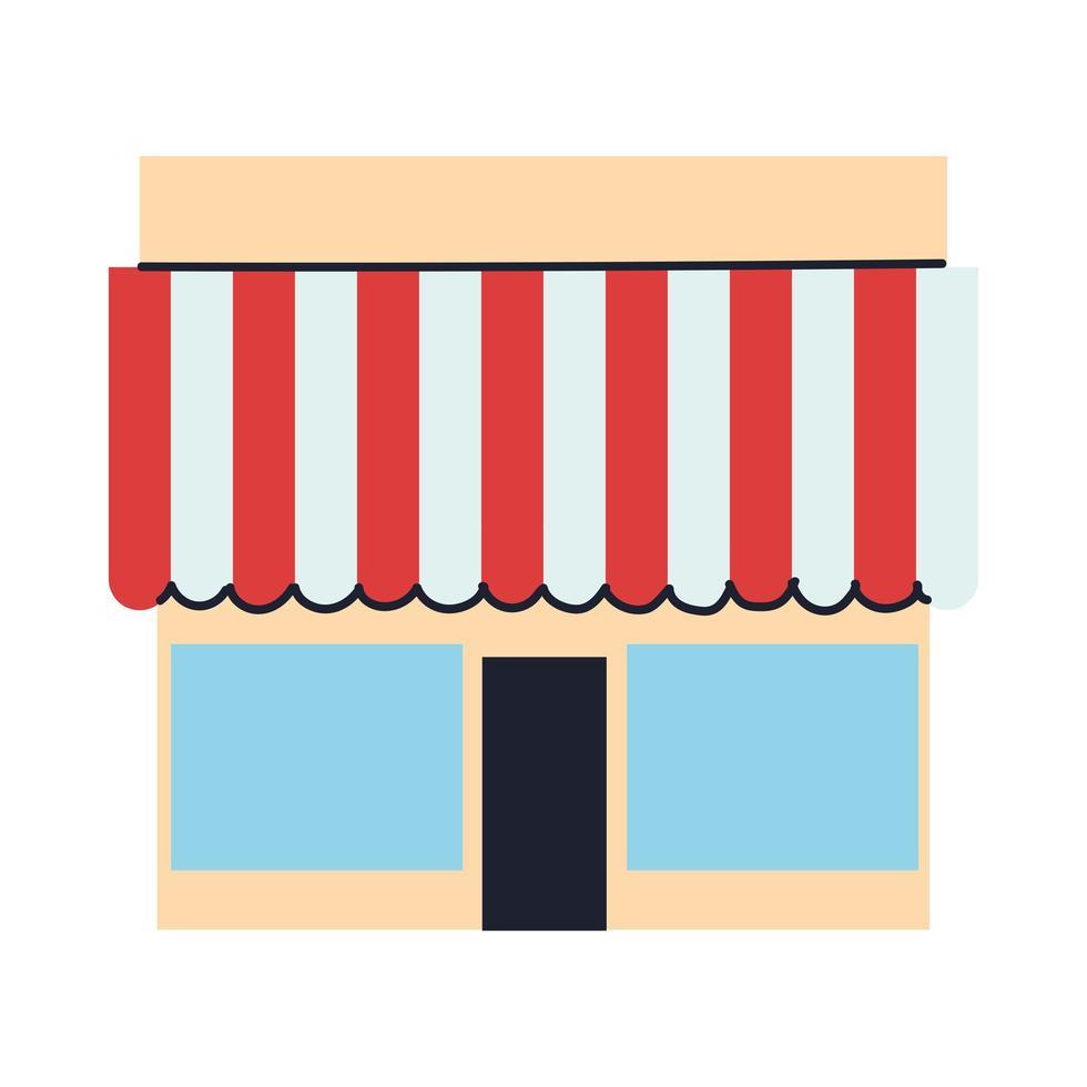 winkelpui met luifel en ramen vector