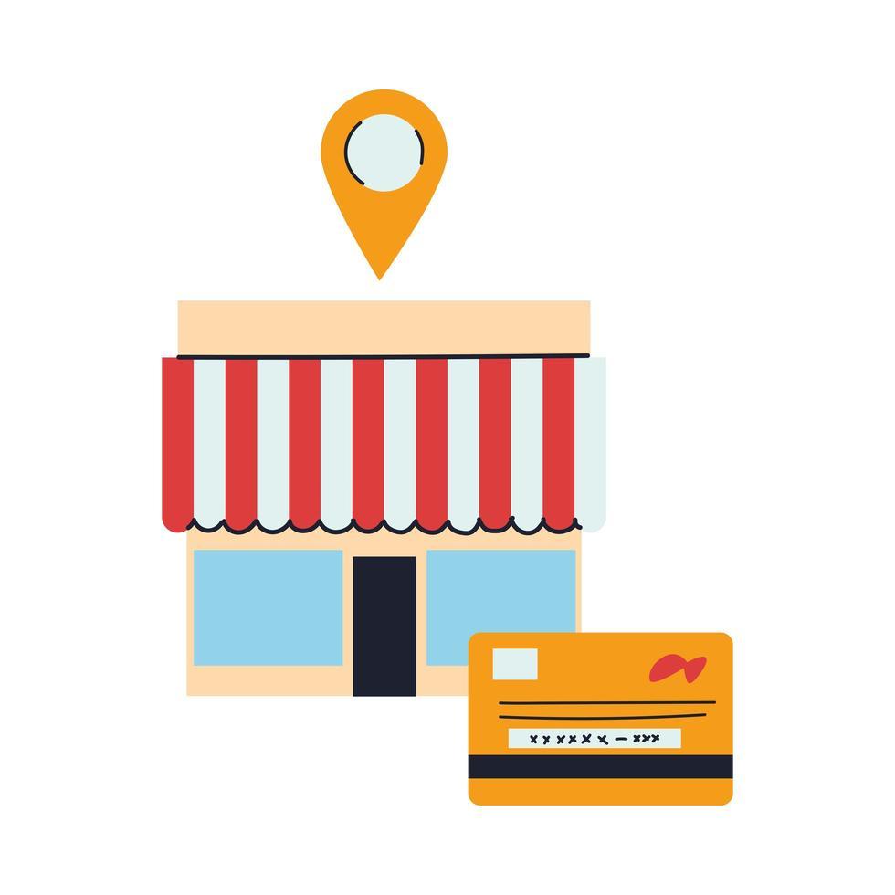 winkel met merchandise en locatiepin vector
