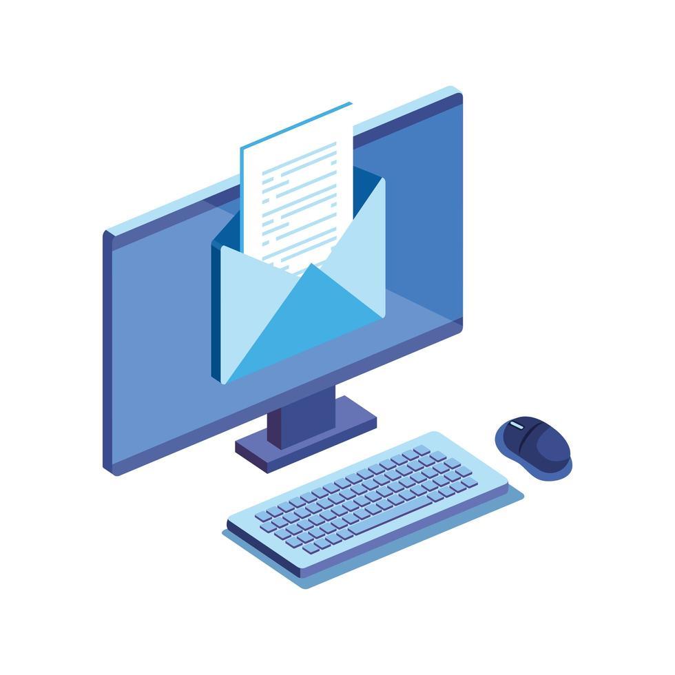 desktop computer met geïsoleerde envelop pictogram vector