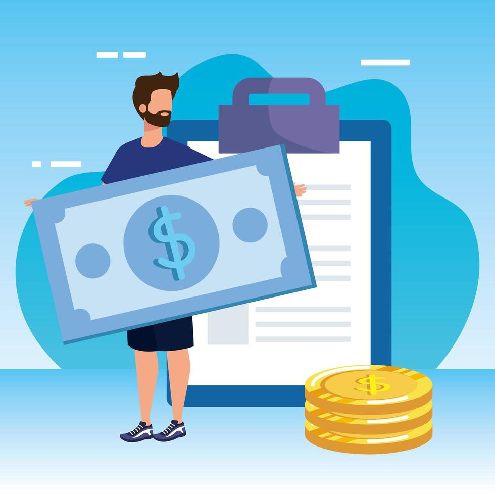 jonge man met checklist en geld vector