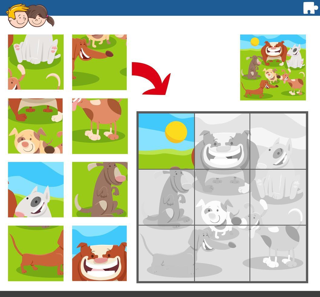 puzzelgame met dierlijke karakters van honden vector