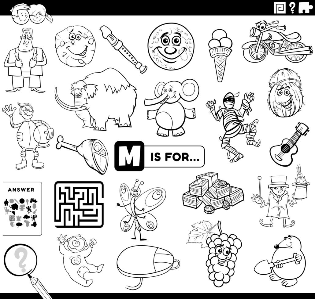 letter m educatieve taak kleurboekpagina vector