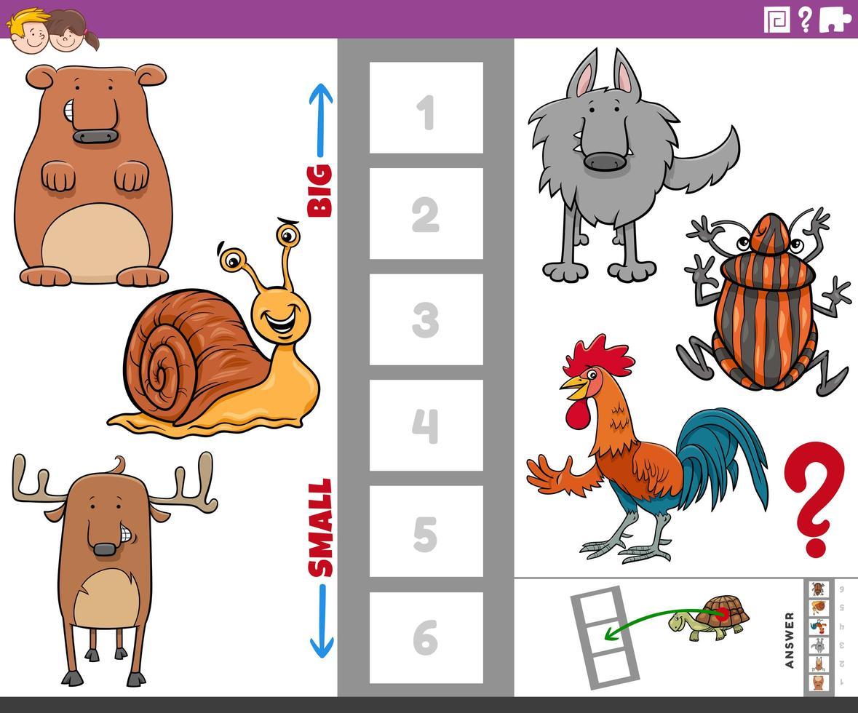 educatieve taak met grote en kleine diersoorten vector