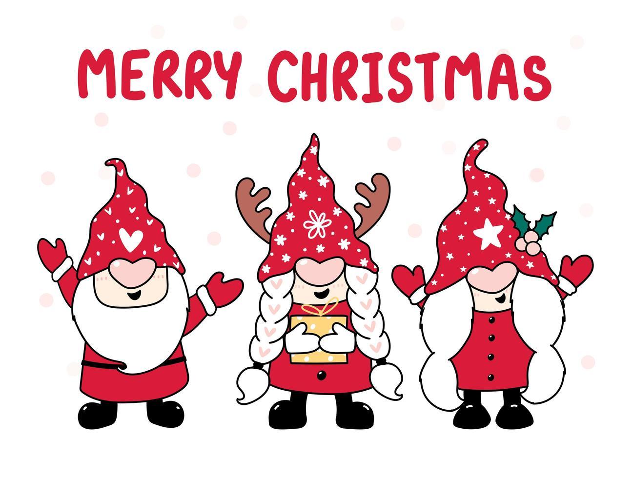 boom gelukkig gnome in rode hoed, vrolijk kerstfeest vector