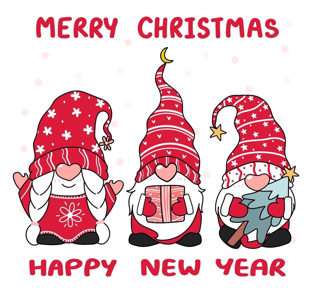 boom gelukkig kleine kabouter in rode hoed, vrolijk kerstfeest vector
