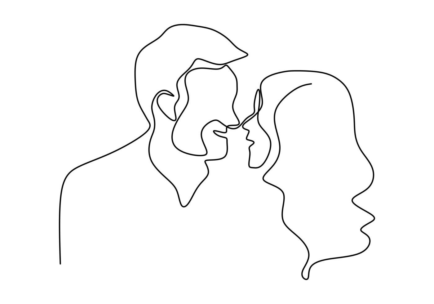 continu een enkele lijntekening van een romantische kus van twee geliefden. minimalisme hand getrokken schets vectorillustratie, goed voor Valentijnsdag spandoek, poster en achtergrond. relatie concept. vector