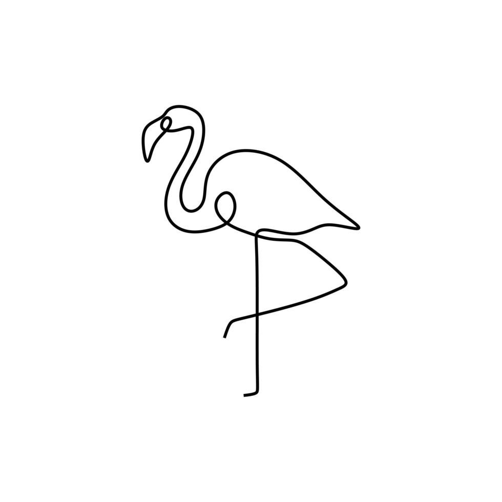 flamingo een lijntekening. continu enkele hand getekend zomersymbool. stijlvol decoratief element. vectorillustratie, goed voor poster en banner minimalisme stijl. vector
