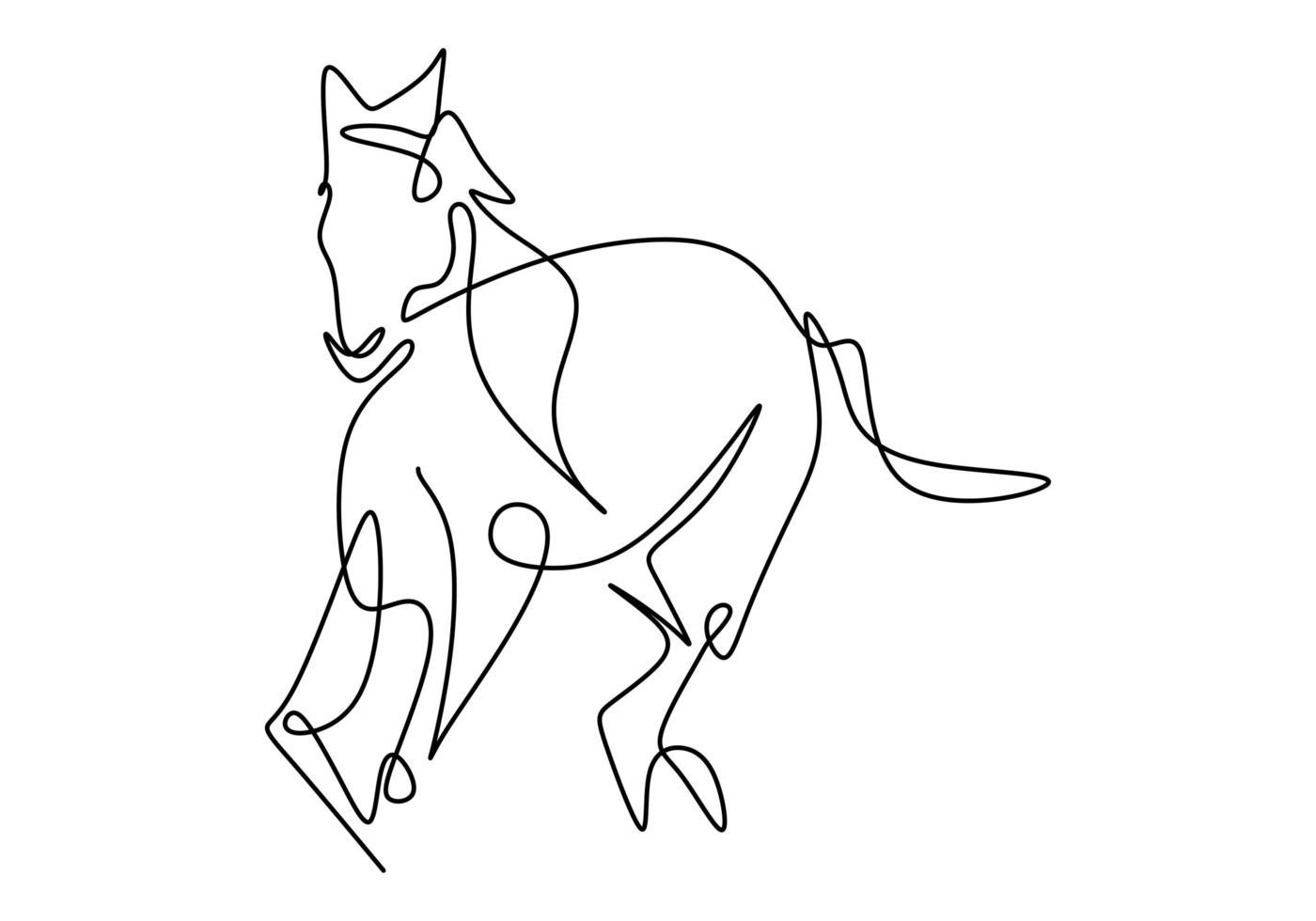 een enkele lijntekening van de identiteit van het bedrijfslogo van het elegantie paard. lopend paard. pony paard zoogdier dier symbool concept. continu een regel enkele vector