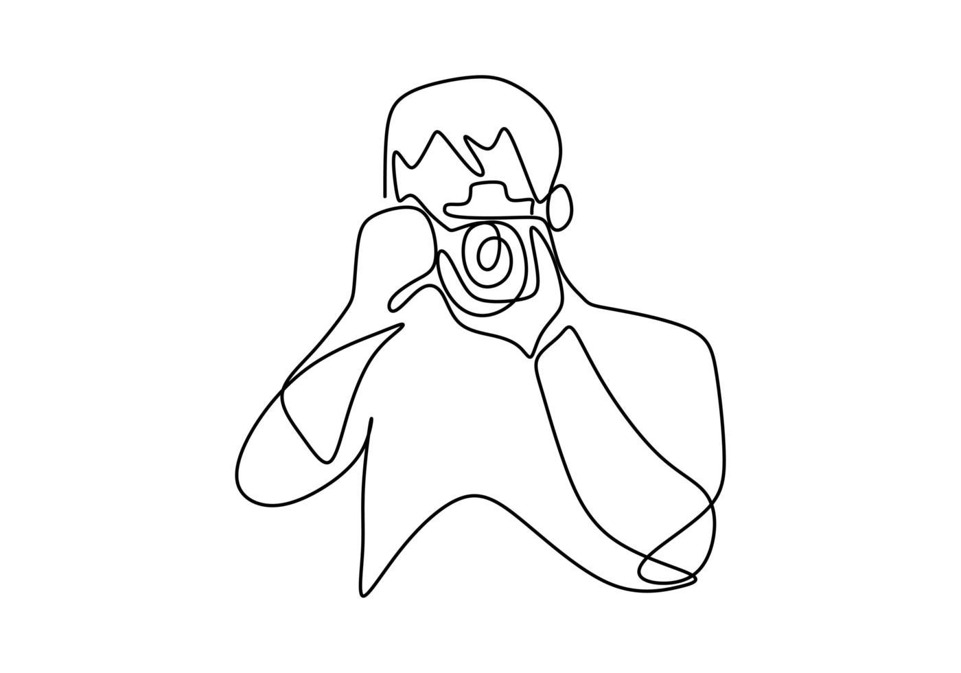 man fotograaf met een camera maakt buiten foto's. doorlopende lijntekening van een zwarte omtrek van een journalist of fotograaf op het werk. voor animatie. vector zwart-wit, tekening door lijnen.