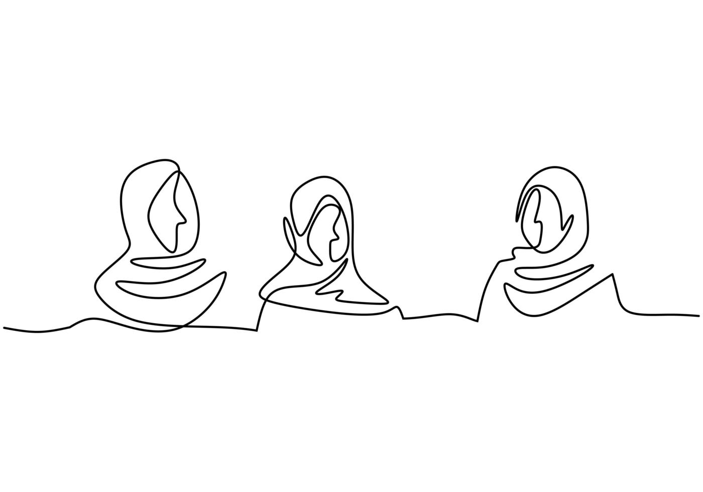 doorlopende lijntekening van vrouw. staan met vertrouwen. vector