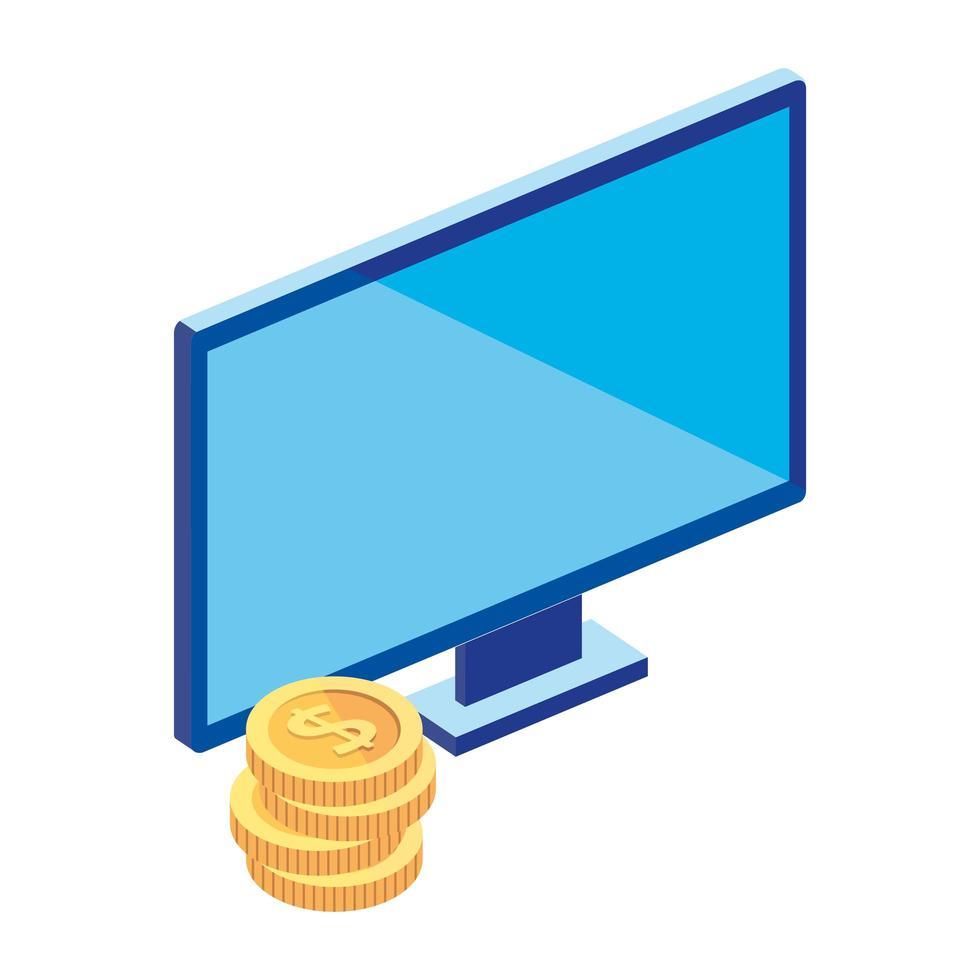 computerdesktop met stapel muntstukken vector