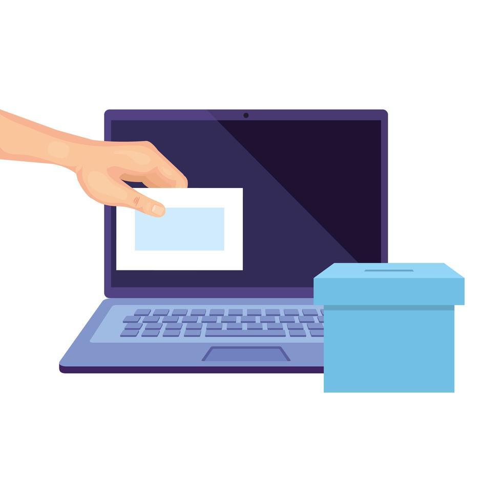 laptop om online te stemmen met stembus en hand vector