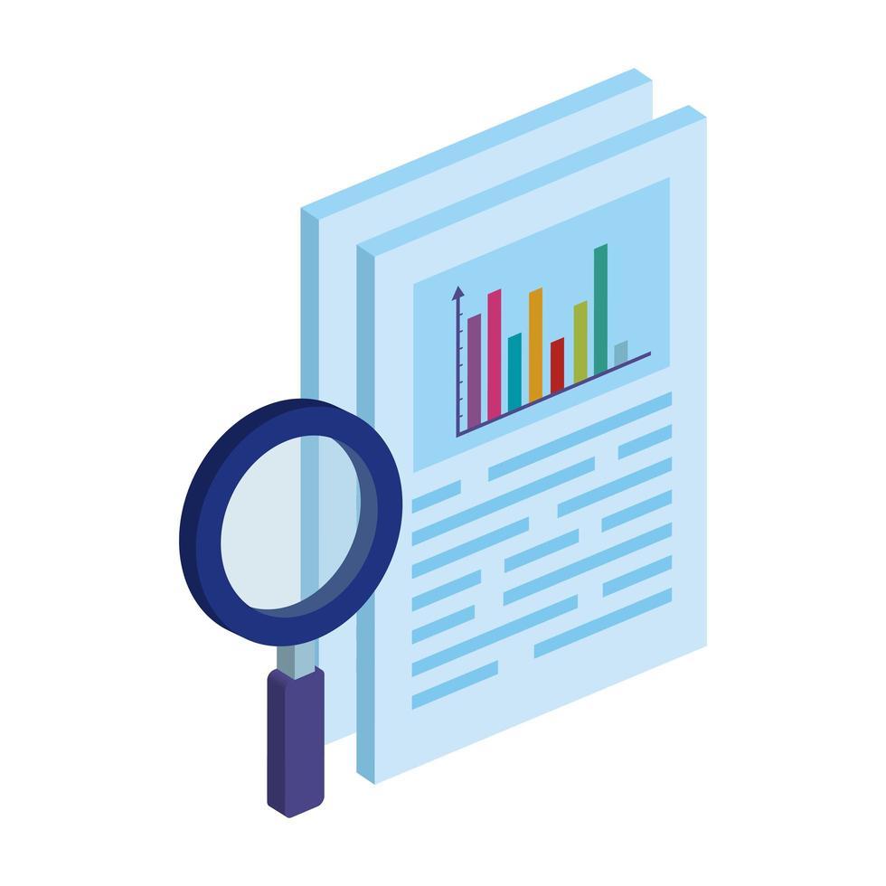 document met staven statistisch en vergrootglaspictogram geïsoleerd vector
