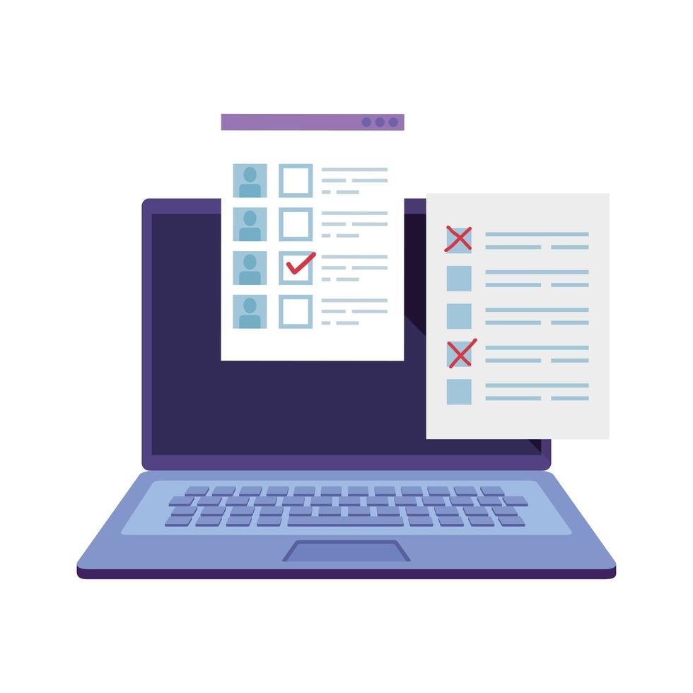 laptopcomputer voor stemmen online lijn stijlicoon vector
